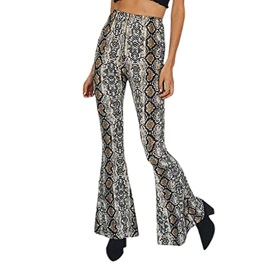 7f84cc117 Womens Wide Leg Pants, Inkach Ladies Ankle Length Serpentine Patterned Stretch  Flare Pants leggings (