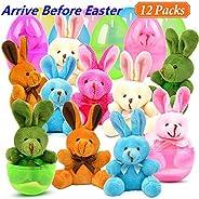 MOMOTOYS 12 Packs Easter Eggs Basket Stuffers Plush Bunnies Plastic Easter Eggs Fillers Kids Party Favors Surprise Easter Eg