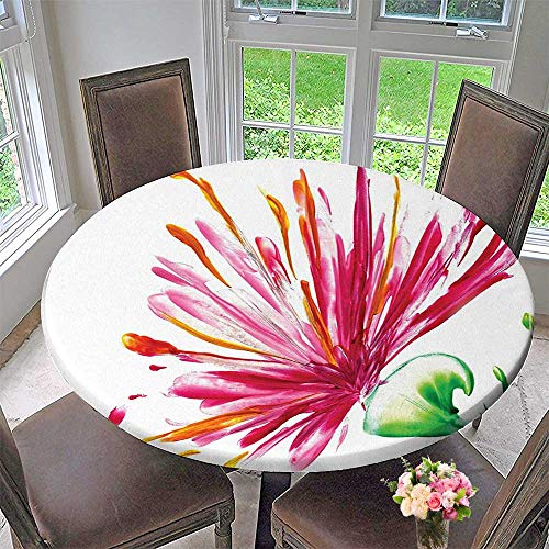 (Mikihome Round Fitted Tablecloth House Decor Opened Out Asiatic Oriental Lily Freesia Florets Home Art Fuchsia Green for All Occasions 50