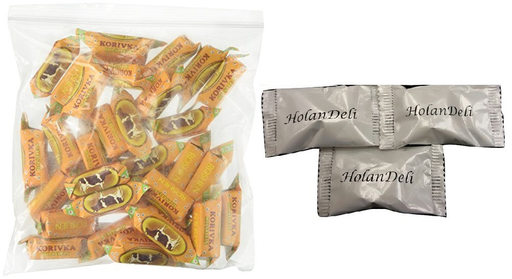 Imported Candy ''Cow'' (Korovka) by Roshen (1 LB). Includes HolanDeli Chocolate Mints by Roshen