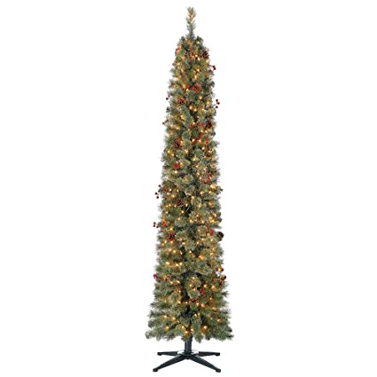 home heritage stanley 7 ft skinny pencil pine pre lit decorated christmas tree