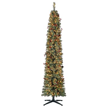 Skinny Christmas Tree.Home Heritage Stanley 7 Ft Skinny Pencil Pine Pre Lit Decorated Christmas Tree