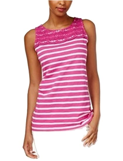 0bd730725461c Image Unavailable. Image not available for. Color  Charter Club Petite  Striped Crochet-Detail Tank Top PM