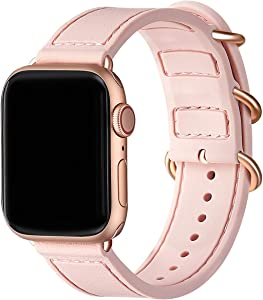 BesBand Compatible with Apple Watch Bands 44mm 42mm 40mm 38mm for Women Men,Soft Silicone Sport Strap Replacement Band for Apple Watch SE & iWatch Series 6/5/4/3/2/1 (Pink sand/Rose gold, 42mm 44mm)