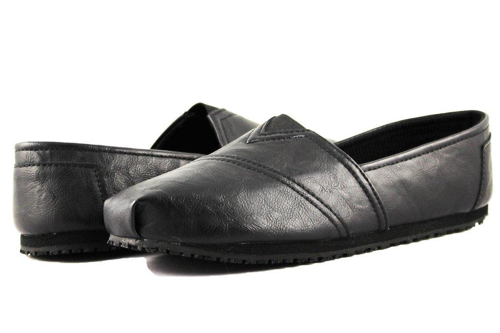 Townforst Womens Jess PU Slip Resistant Slip On Shoes Black 10