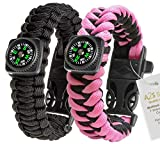 1# BEST Value For Money A2S Survival Kit Paracord Bracelet Set of 2 with Compass Flint Fire Starter, Stainless Fire Scraper, Emergency Whistle (Black / Pink, Medium 8″)