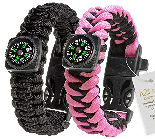 1# BEST Value For Money A2S Survival Kit Paracord Bracelet Set of 2 with Compass Flint Fire Starter, Stainless Fire Scraper, Emergency Whistle (Black / Pink, Medium 8