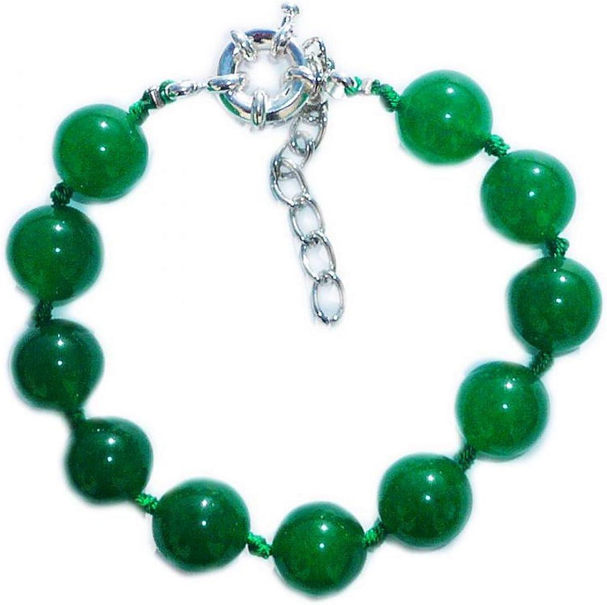 Pulsera de jade verde oscuro (jadeíta) perlas de 8 mm de diámetro