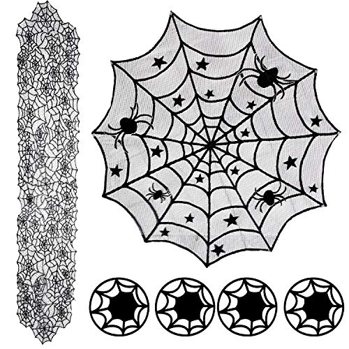 3 Set Halloween Decorations Set, 18 x 72 Inch Spider Web Lace Table Runner, 40 Inch Round Polyester Table Lace Topper, 4 Inch Black Spider Web Place Mats for Halloween Party Favors Dinner Table Decor -