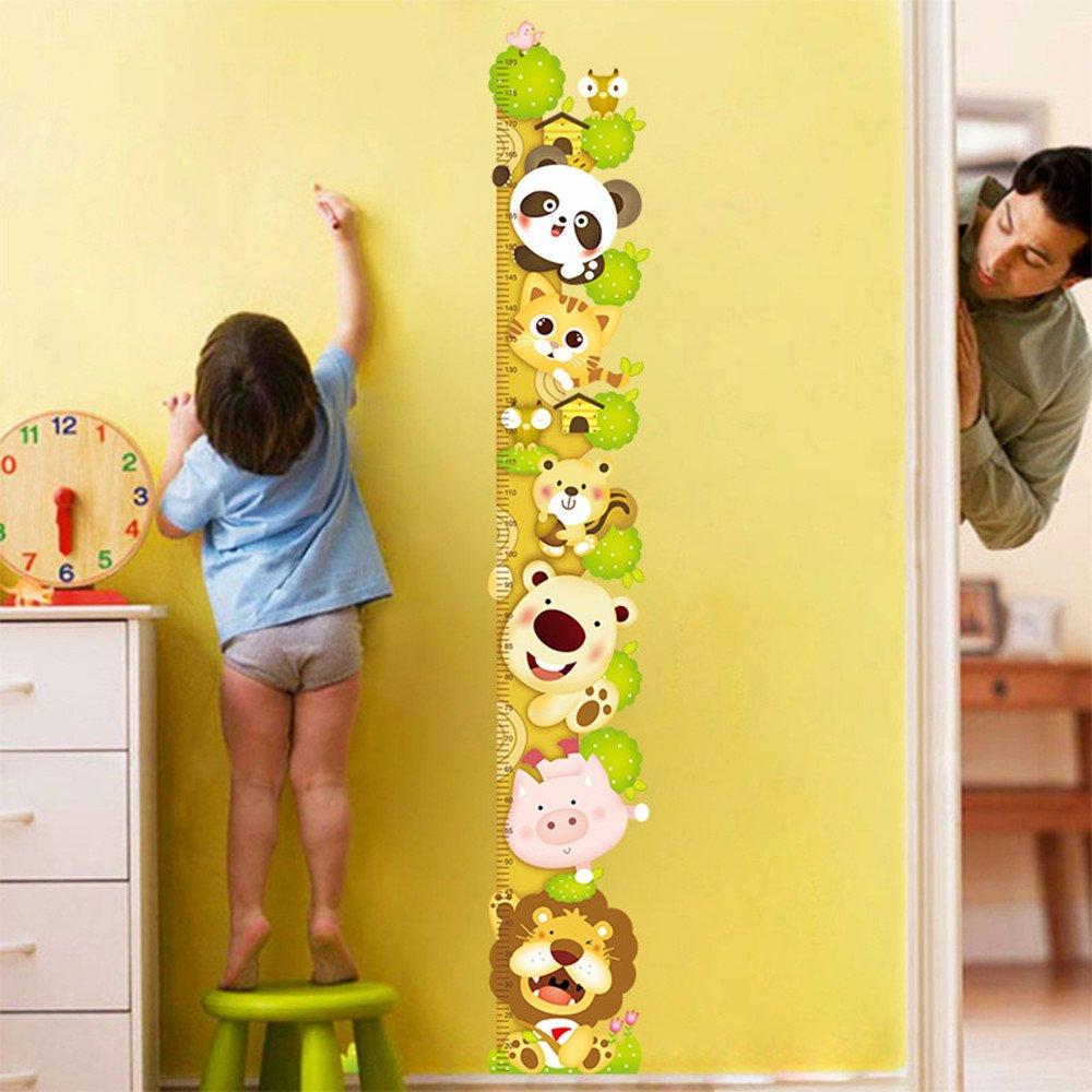 Cartoon Animals Wall Stickers Height Measure Removable For Baby Nursery, Kids Boys and Girls Playroom LemonGo