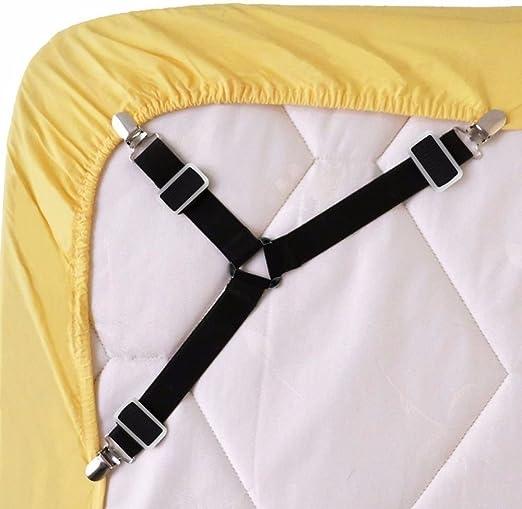 4pcs Fitted Bed Sheet Holder Grips Mattress Gripper Straps Clip Fastener Hold**
