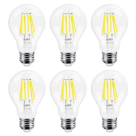 DiCUNO 6P Edison Screw Bombilla LED Bombilla incandescente de filamento 60W Dimmable A60 Bombillas, E27
