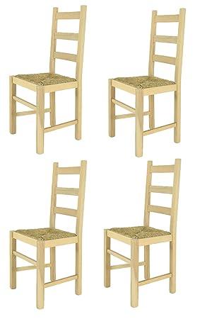 Tommychairs sillas de design - Set 4 sillas clásicas RUSTICA para cocina, comedor, bar