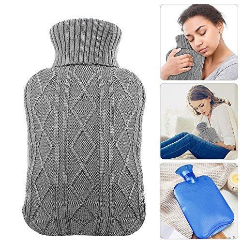 [Gesponsert]Wärmflasche 2 Liter mit bezug, INTVN1 Wärmflasche und ein Strickärmel, Waschbarer, gewebter Flaschenbezug für...