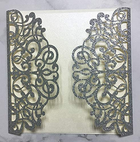 - 50 Sets Square Gold glitter Laser Cut Vintage Wedding Invitations Cards Hollow Floral Exquisite Carving Greeting invites cards 4 Engagement Birthday Bridal Show (silver glitter)