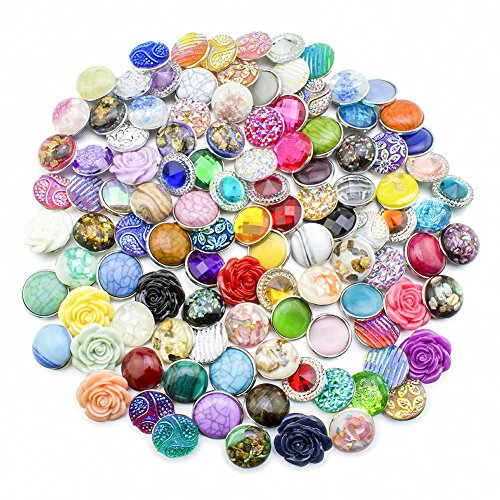 Soleebee HJ009 Mixed Random Aluminum Resin 18mm Snap Buttons Jewelry Charms Fit Snaps Bracelet (Pack of 50)