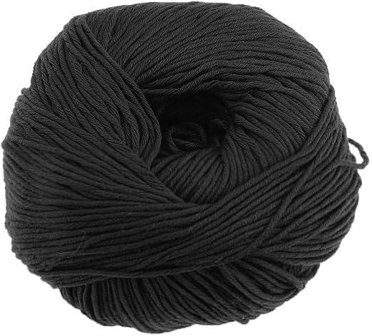 sharprepublic 1 Madeja 50g Tejer Crochet Suave Bebé Algodón Hilados De Lana De Punto Artesanía DIY - Negro: Amazon ...