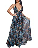 Remelon Womens Sexy Spaghetti Strap Deep V Neck Floral Boho Criss Cross Backless Chiffon Beach Party Long Maxi Dress