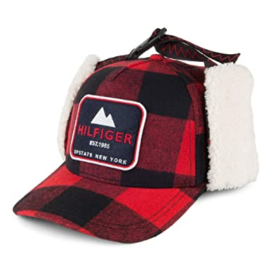 a76927d8 Tommy Hilfiger Hats Badger Trapper Baseball Cap with Earflaps - Red-Black  Adjustable: Amazon.co.uk: Clothing