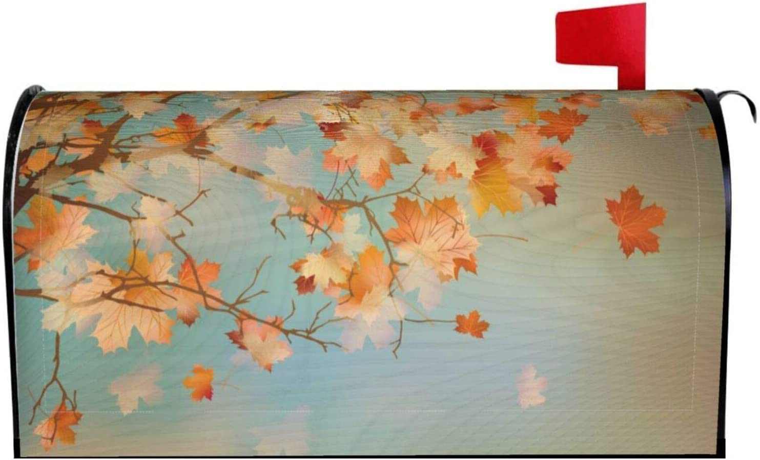 Abucaky Autumn Maple Leaves Mailbox Cover Magnetic Fall Waterproof Mailbox Wraps Post Letter Box Decor 21x18 in