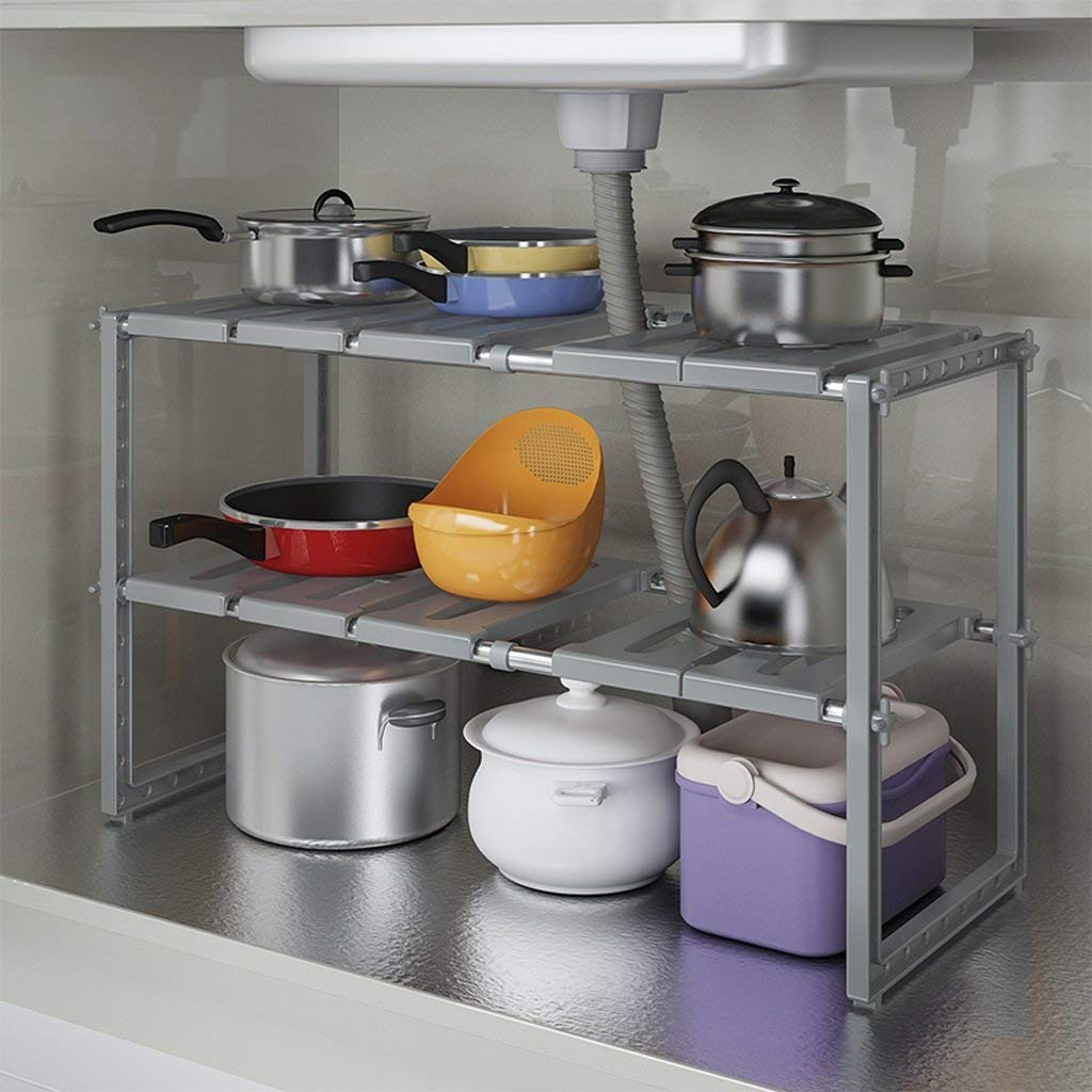 Der Kitchen Storage Kitchen Rack, Stainless Steel Telescopic Lower Sink Rack Multi-Layer Storage Rack Floor Storage Rack Storage Shelves