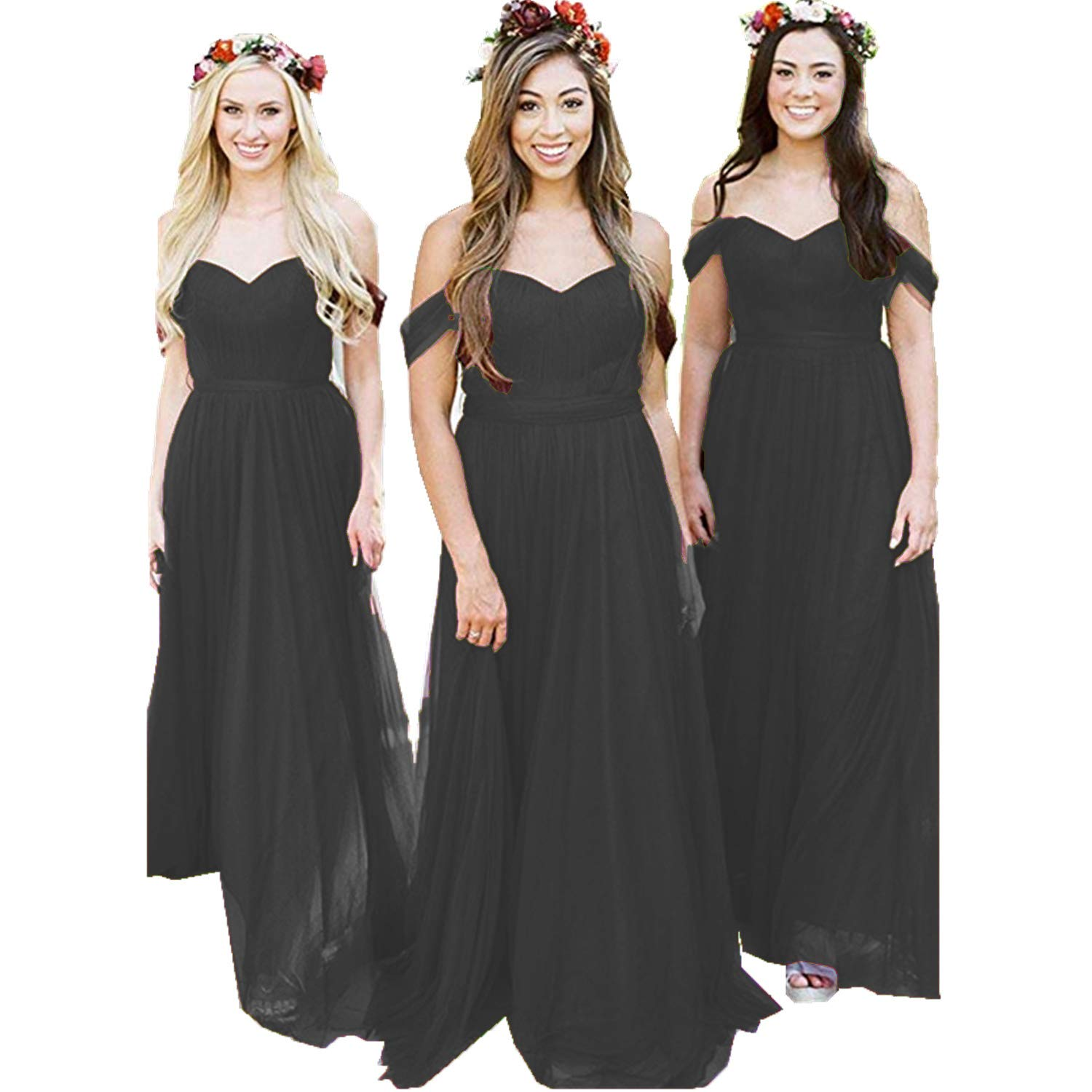 Black Ruiyuhong Women's Off The Shoulder Bridesmaid Dresses Long Tulle Wedding Party Gown