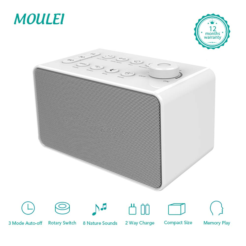 White Noise Machine Plug in or Battery Powered Office or Travel Portable Sleep Sound Therapy with Auto-Off Timer for Home Sleep Sound Machine with 8 Soothing Nature Sounds