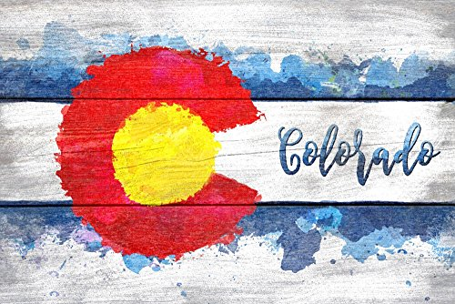 Cheap Colorado State Flag – Watercolor – Rustic (36×54 Giclee Gallery Print, Wall Decor Travel Poster)