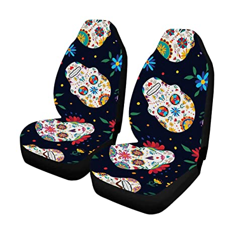 InterestPrint Auto Seat Covers Full Set Of 2 Day The Dead Traditional Mexican Sugar