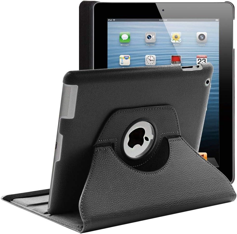 ebestStar - Funda Compatible con iPad 4 3 2 Carcasa Cuero PU, Giratoria 360 Grados, Función de Soporte, Negro [Aparato: 241.2 x 185.7 x 9.4mm, 9.7'']