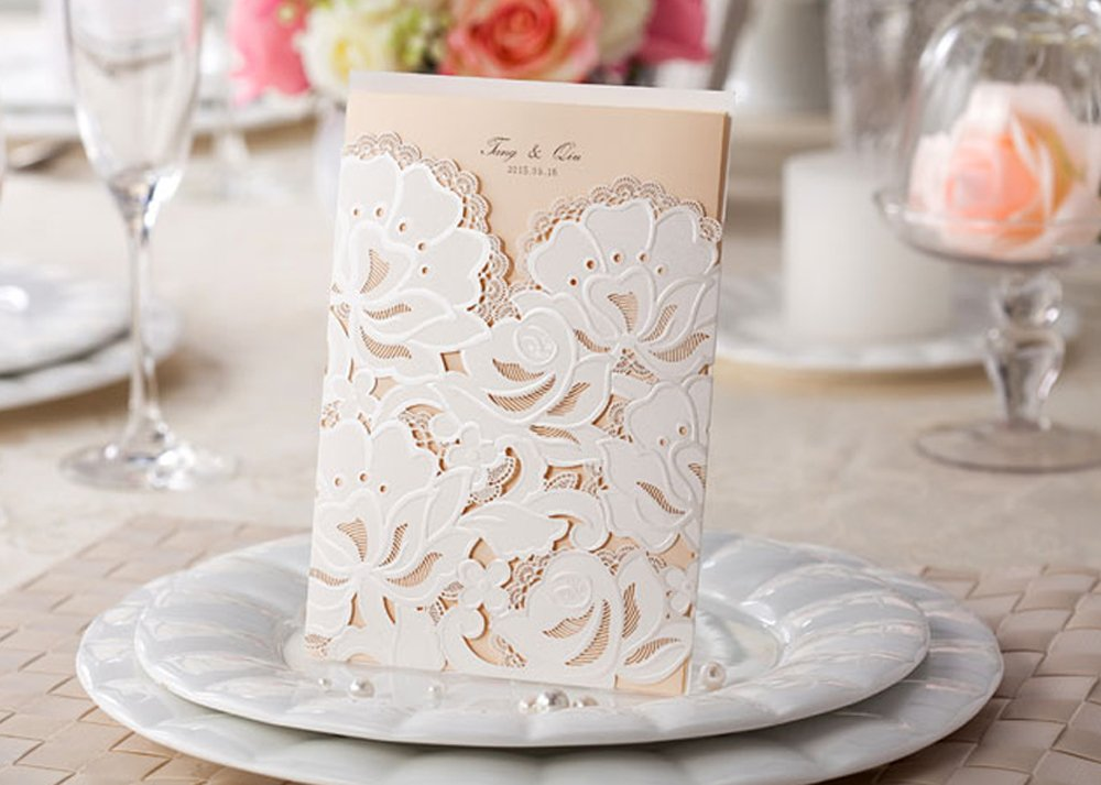 CheckMineOut Classic Vertical Laser Cut White Lace Flowers Floral Wedding Invitation Template Invite Cards (100Sets)