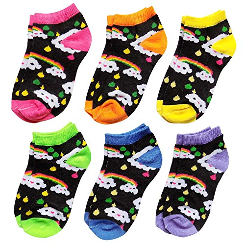 ds Fancy Colorful Patterns Ankle No Show Socks Ages 4-12 (Shoe Size 11-4 (Ages 8-12), Happy Rainbow Clouds) (Rainbow Ankle Sock)