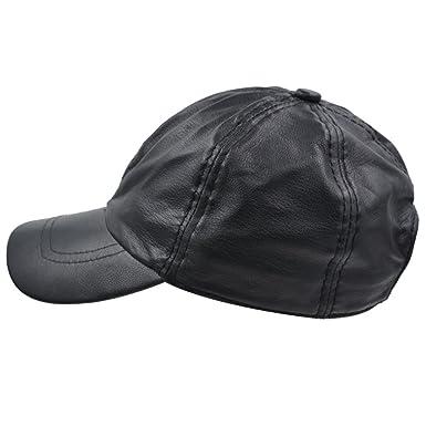 bb8bc0892bb44 IFSUN Solid Genuine Leather Baseball Cap Men Women - Classic Adjustable Hat