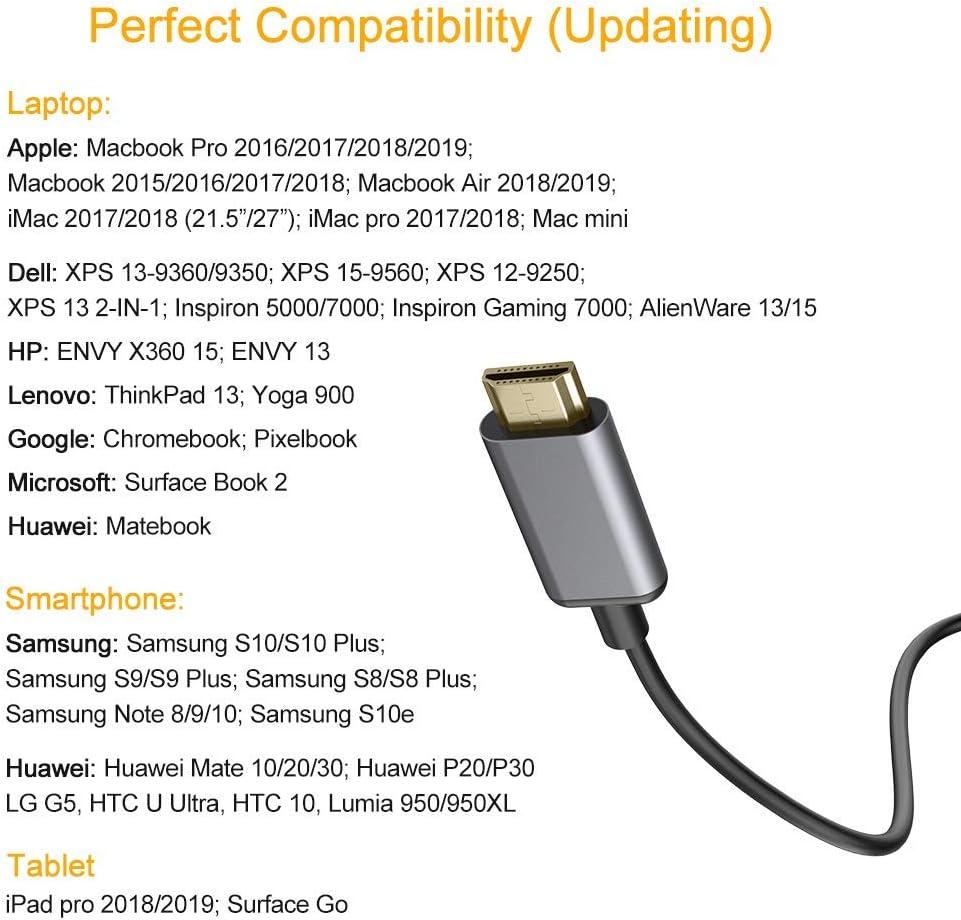 Thunderbolt 3 HDMI Kabel Kompatibel mit MacBook 2017//2016 MacBook Pro//Pad 2019 Typ C zu HDMI Kabel 6FT//1,8M Chromebook Pixel HUAWEI P30//P20//Mate 10 und mehr USB C zu HDMI Kabel 4K @ 60Hz