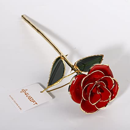 4ugift 24k Gold Dipped Real Red Rose Flower Love Gift For