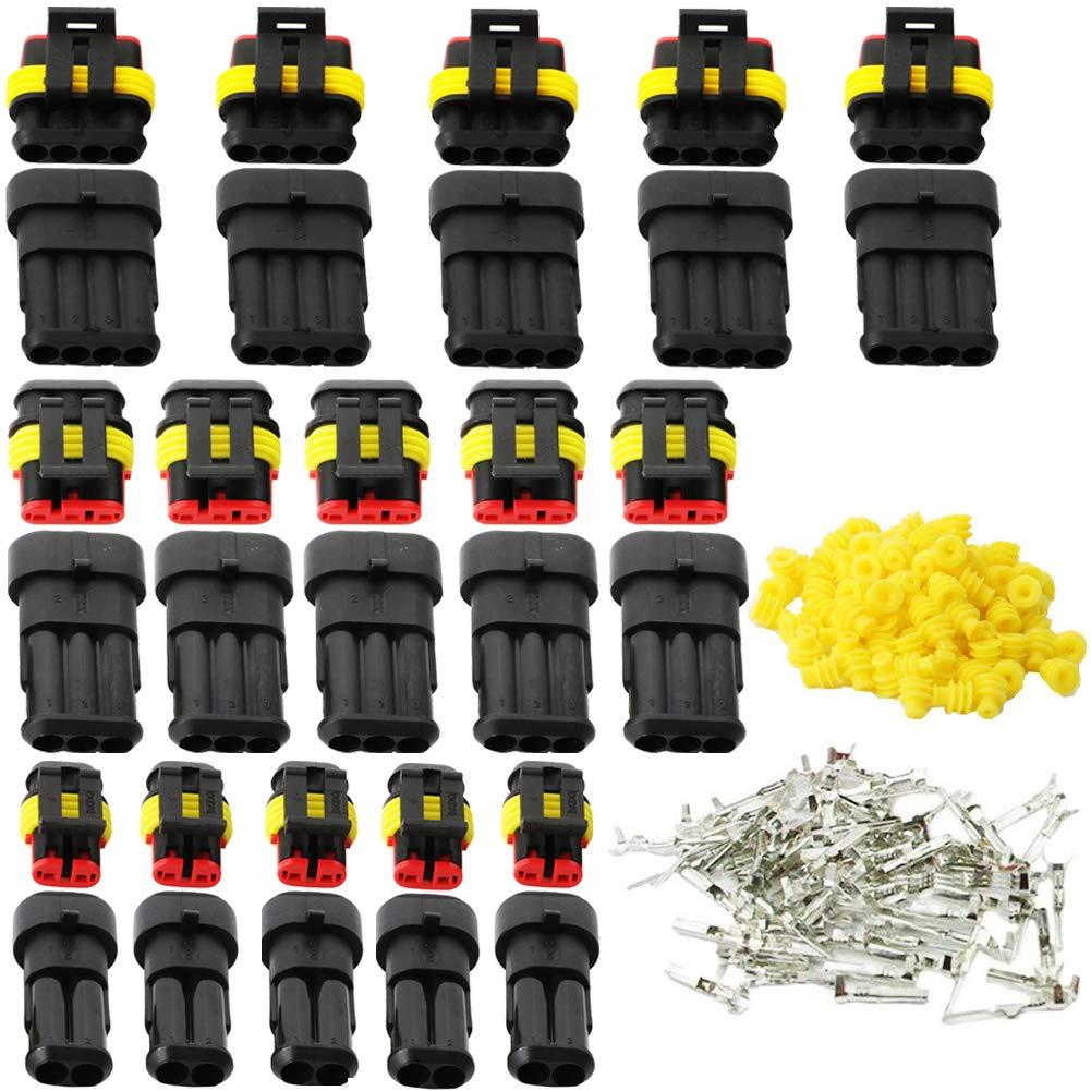 15 kits conectores de crimpado 2 clavijas motocicleta enchufe de 4 pines Fortspang scooter conectores de cable impermeables enchufe de 3 pines Conectores el/éctricos para coche