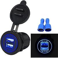 myonly impermeable Dual Puerto USB Cargador Socket Power Outlet 2.1A & visualización digital de 2,1A con Luz LED azul para coche barco Motorcycle Marino Mobile, Azul