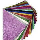 "21 pcs 8"" x 13"" (20cm x 34cm) Shiny Superfine Glitter Fabric Canvas Back Craft DIY Craft Assorted Colours (21 Colors)"