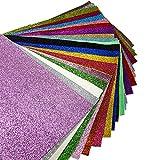 "21 Pcs 8"" x 13"" (20 cm x 34 cm) Shiny Superfine Glitter Fabric Canvas Back Craft DIY Craft Assorted Colors (21 Colors)"