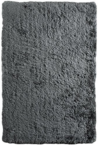 - Eva Mist Grey Silver Soft Thick Fluffy Non Shed Polyester Shaggy Living Room Rugs