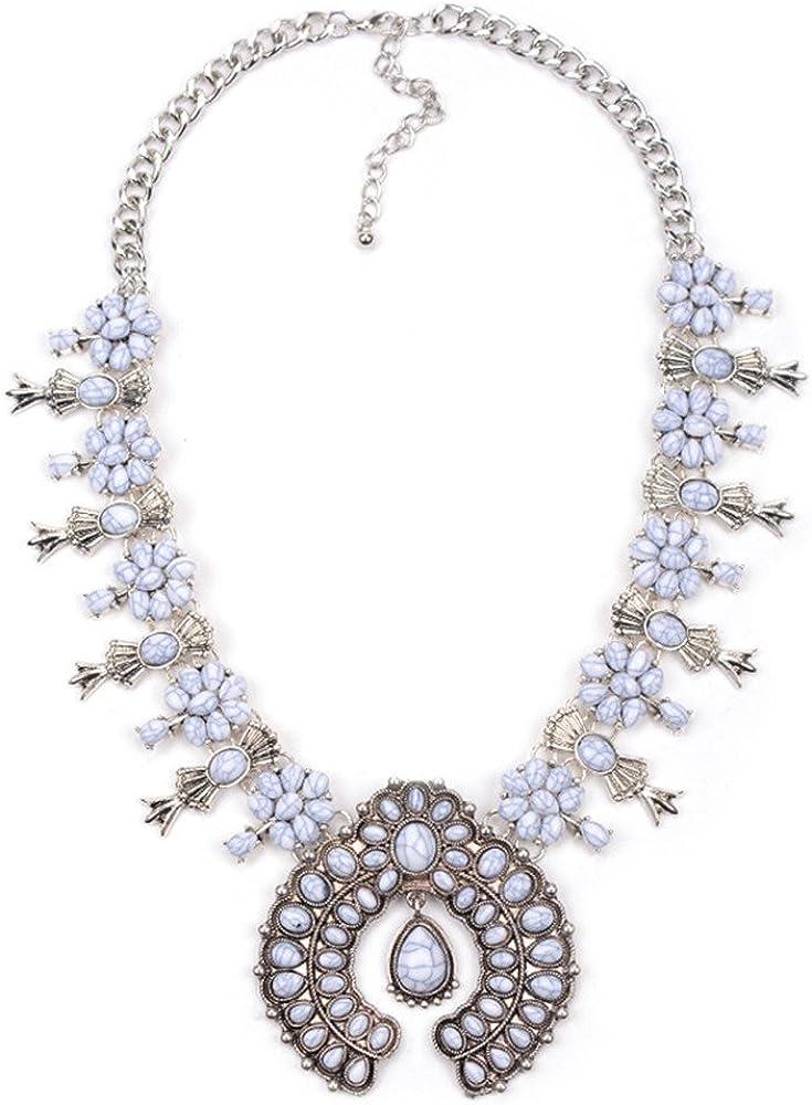 QXLDM Collar de la joyería de Las Mujeres Collar Bohemia Joyas Cadena de Plata un Corto la Cadena de clavícula Floral