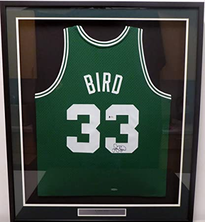 4282d580808 Boston Celtics Larry Bird Autographed Framed Green Mitchell   Ness Swingman  Jersey Beckett BAS