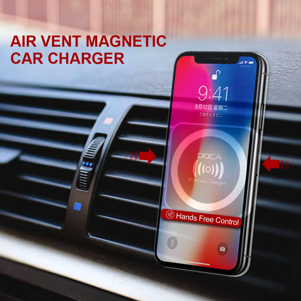 Magnetic QI Wireless Car Charger, DOCA Magnet Car Cradle Air Vent Charging Holder with USB Car Charger Compatible for i Phone XS/XS Max/XR/X/8/8 Plus,Samsung Galaxy Note 8/S8/S8+/S7 and All QI-Enable