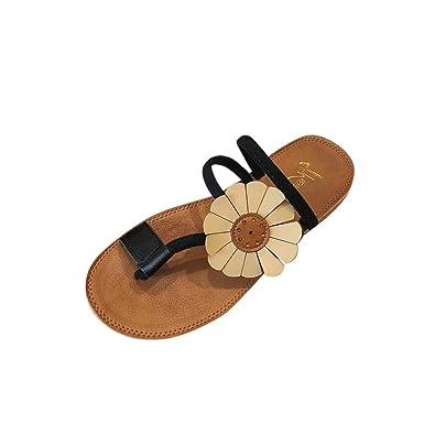c5d3bdc7c5f72 Fashion Women Flower Flat Heel Anti Skidding Beach Shoes Sandals Slipper  Black