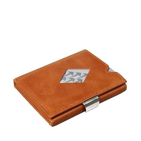 diseño de calidad a6cbf 25f14 EXENTRI Cartera Billetera para Mujer u Hombre de Cuero Naranja Bordado con  Nylon. hasta 12 Tarjetas, con Innovador Acceso rápido a 2 Tarjetas con un  ...