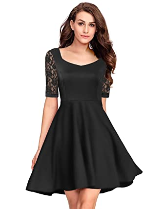Pinup Fashion Womens Casual Lace Half Sleeves Dress Work Cocktail Party Swing Dresses Black X-