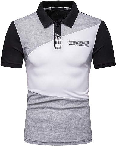 HCFKJ Camisetas Hombre Los Hombres De Moda Se Mezclan Ocasionalmente Color Slim Fit Manga Corta Camisa Deportiva Top Blusa: Amazon.es: Ropa y accesorios