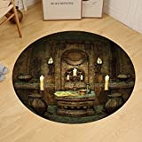 Gzhihine Custom round floor mat Gothic House Decor Dark Mystic Ancient Hall with Pillars and Christian Cross Dome Shrine Church Bedroom Living Room Dorm Decor Red Brown Black