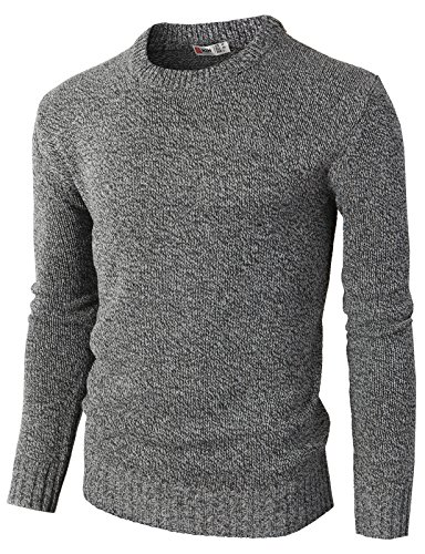 H2H Men¡¯s Basic Natural Cotton Solid Color Pullover Sweater Charcoal US L/Asia XL (KMOSWL0122) ()