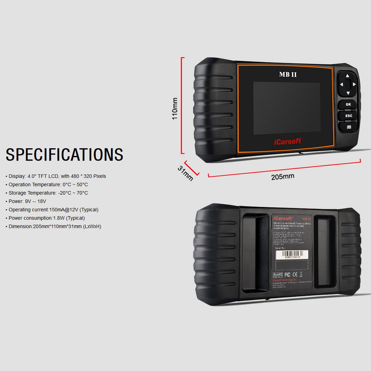 iCarsoft MBII for Mercedes Benz/Sprinter/Smart Professional Diagnostic Tool Scanner, New Version by iCarsoft (Image #4)